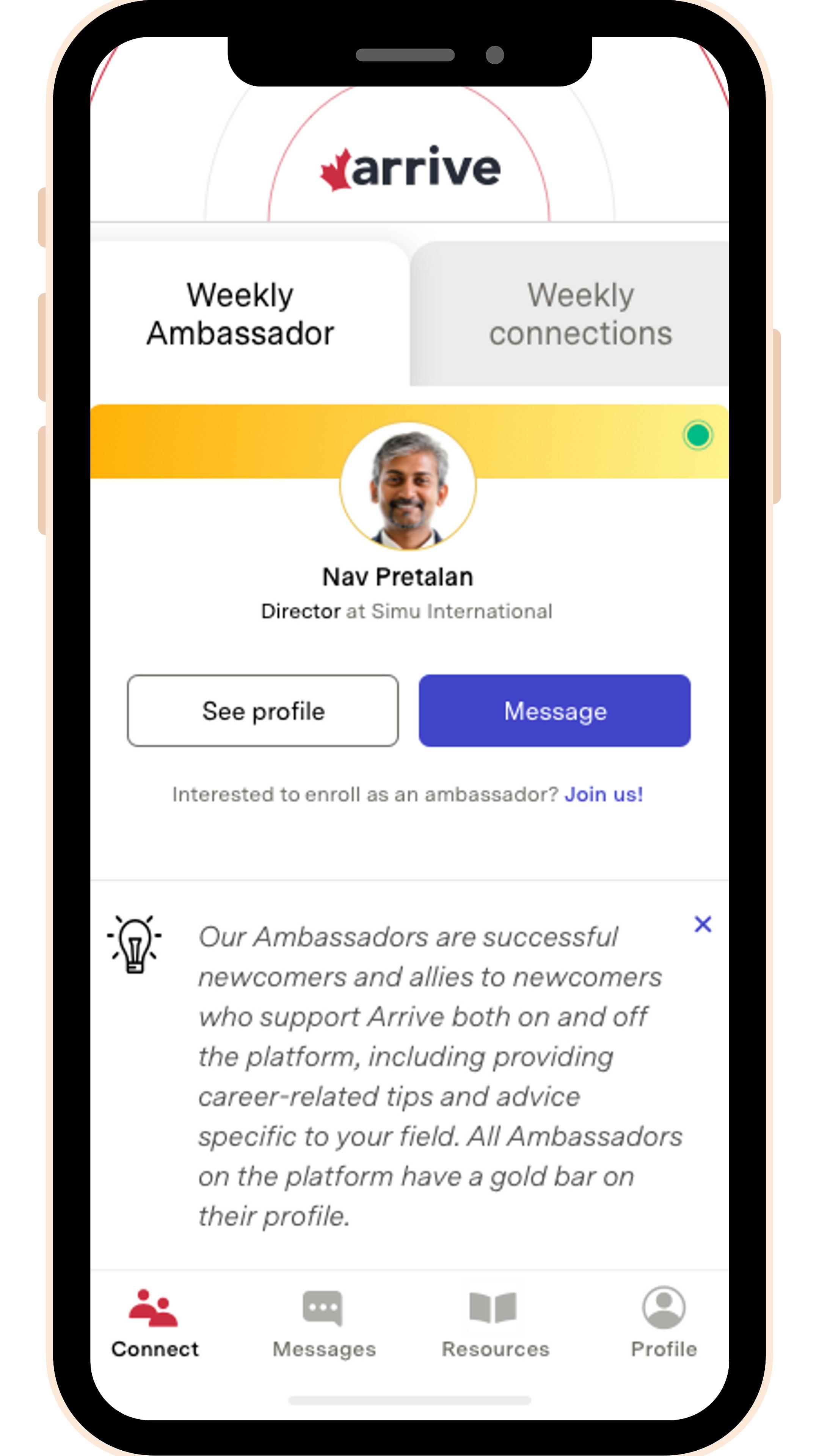Arrive App Ambassador Profile
