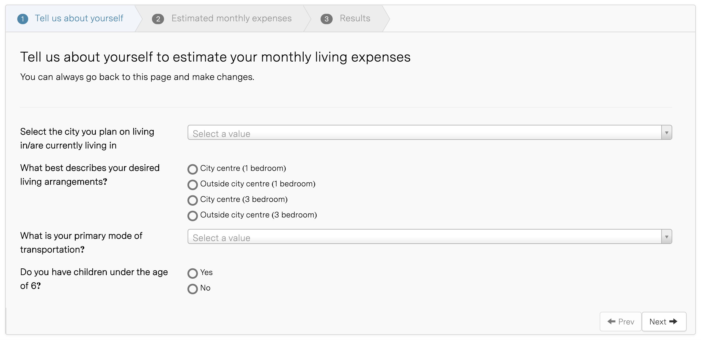 Arrive monthly expenses calculator