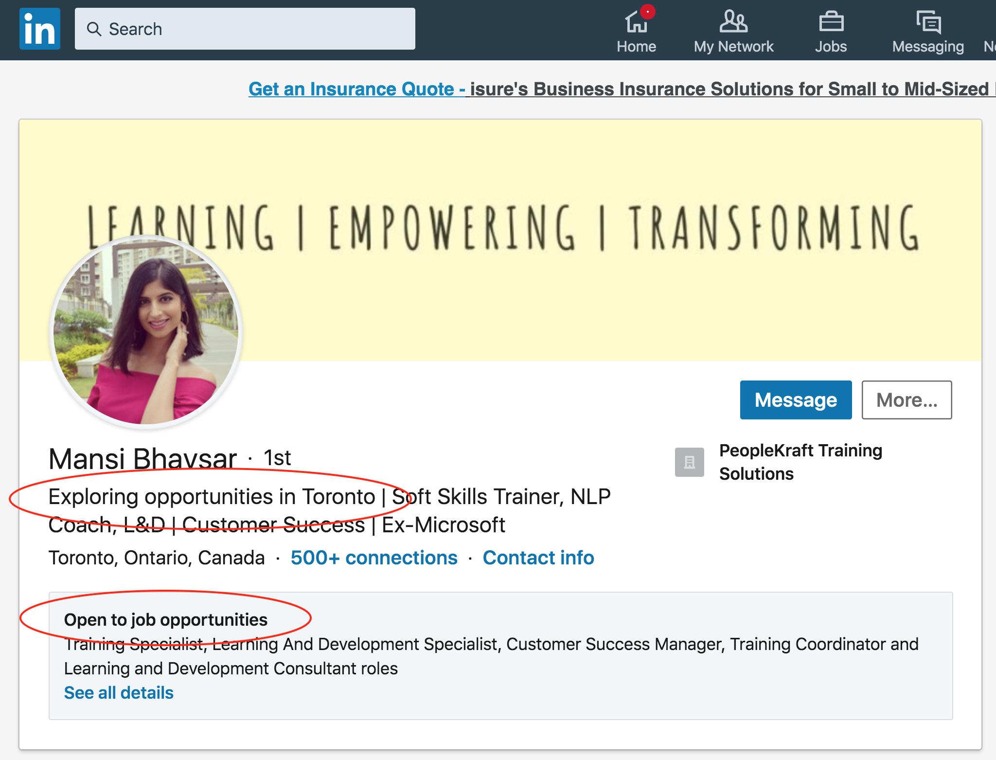 Optimizing your LinkedIn headline for job opportunities