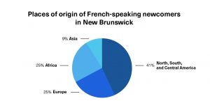"""A pie chart showing places of origin of French-speaking newcomers in New Brunswick"""