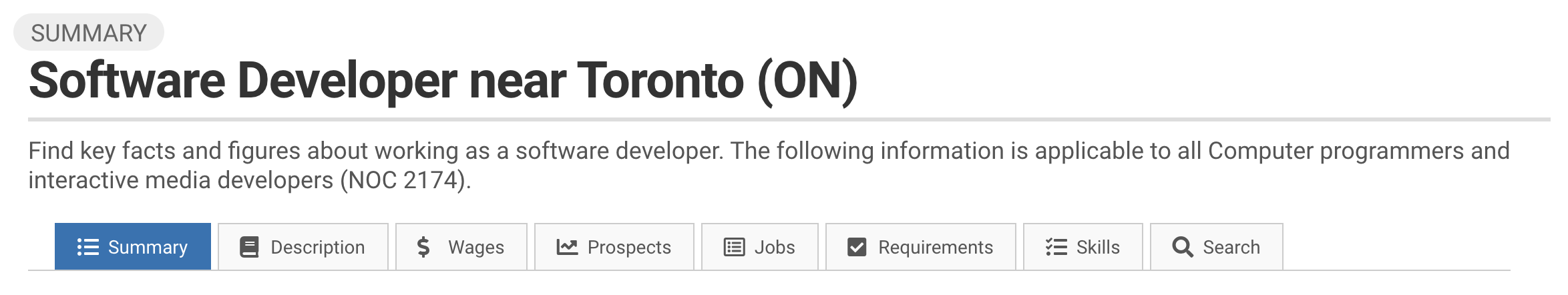 Image showing how to see StatCan trends for Software Developers near Toronto or other cities