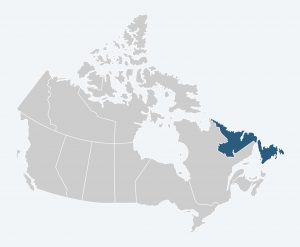 Map of Canada with Newfoundland and Labrador Highlighted