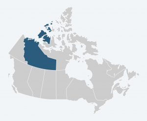 Map of Canada with the Northwest Territories highlighted