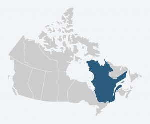 Map of Canada with Quebec highlighted.