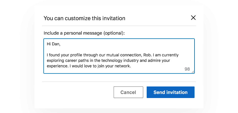 Sample custom invitation for adding a new connection on LinkedIn
