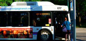 Riding public transportation in Winnipeg