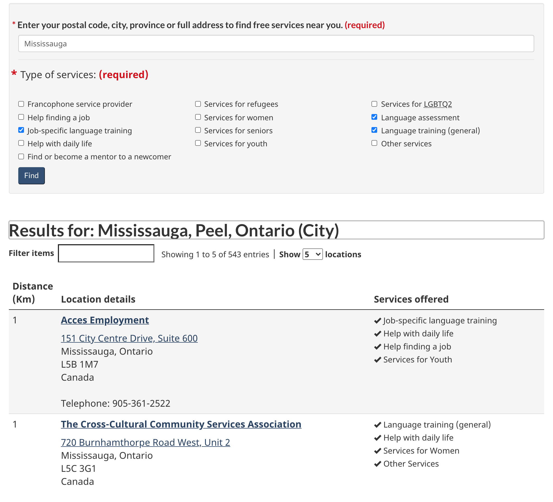 "The Government of Canada ""Find Newcomer Services"" page showing various fields including types of services, service providers and location details."