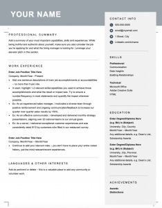 Free downloadable and editable combination resume template for Canada