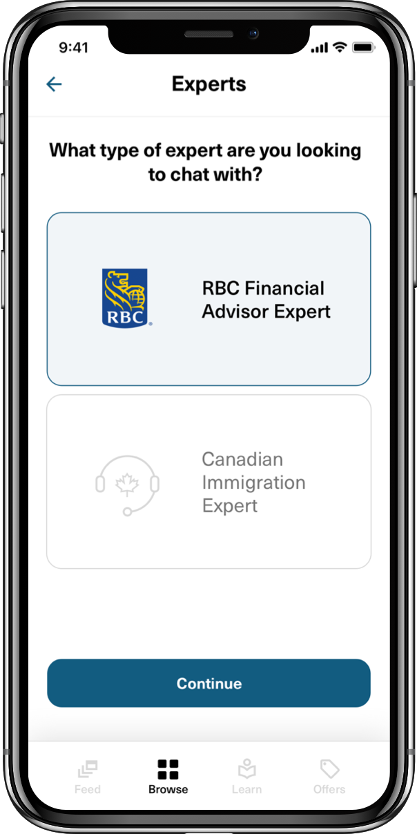 A screen showing options to connect with experts on the new Arrive app