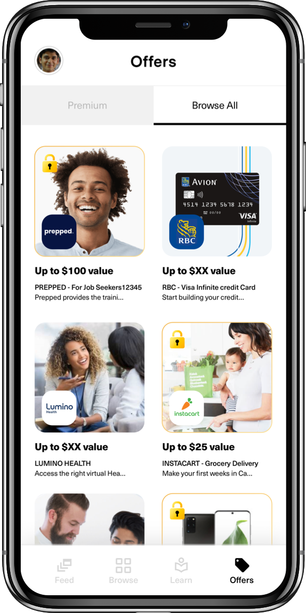 A list of exclusive offers on the new Arrive app