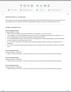 Free downloadable and editable reverse chronological resume template for Canada