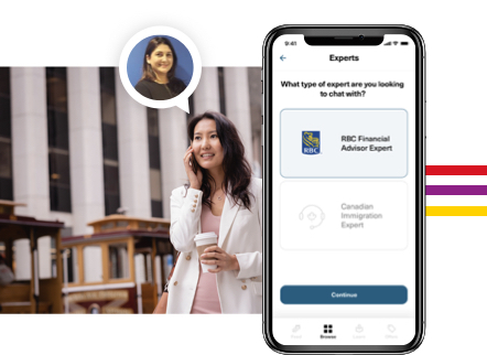 A young woman using the Arrive mobile app to talk to an RBC financial advisor