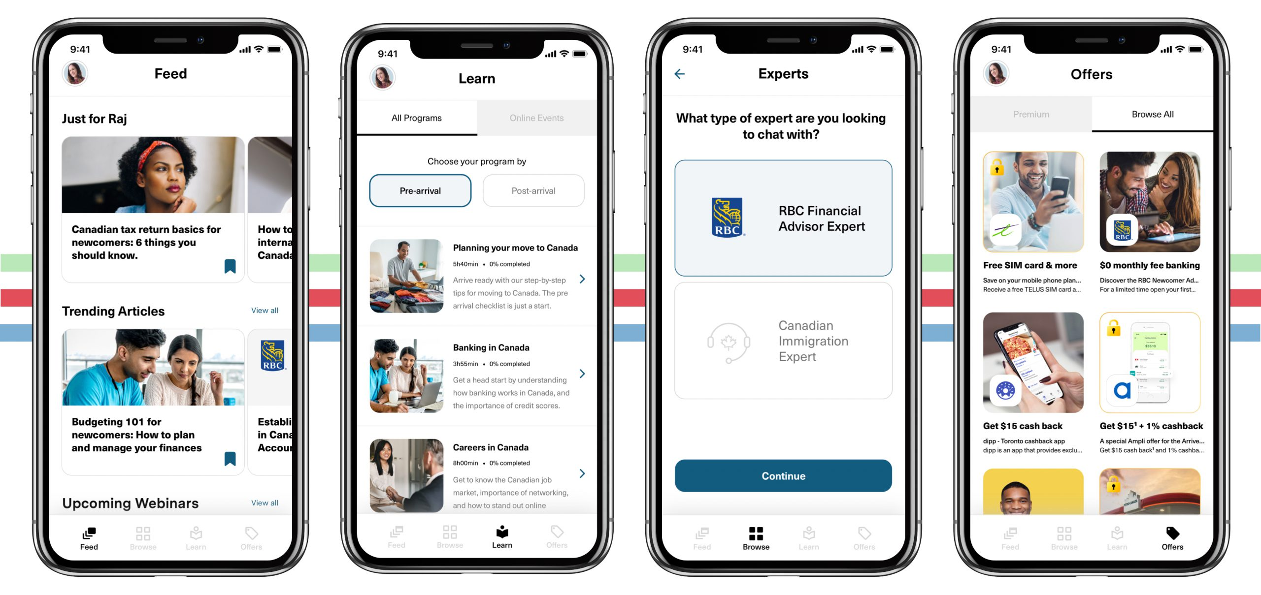 """New Arrive app screens: """"Feed, Learn, Experts, and Offers"""", show different newcomer programs, tools, resources and features"""