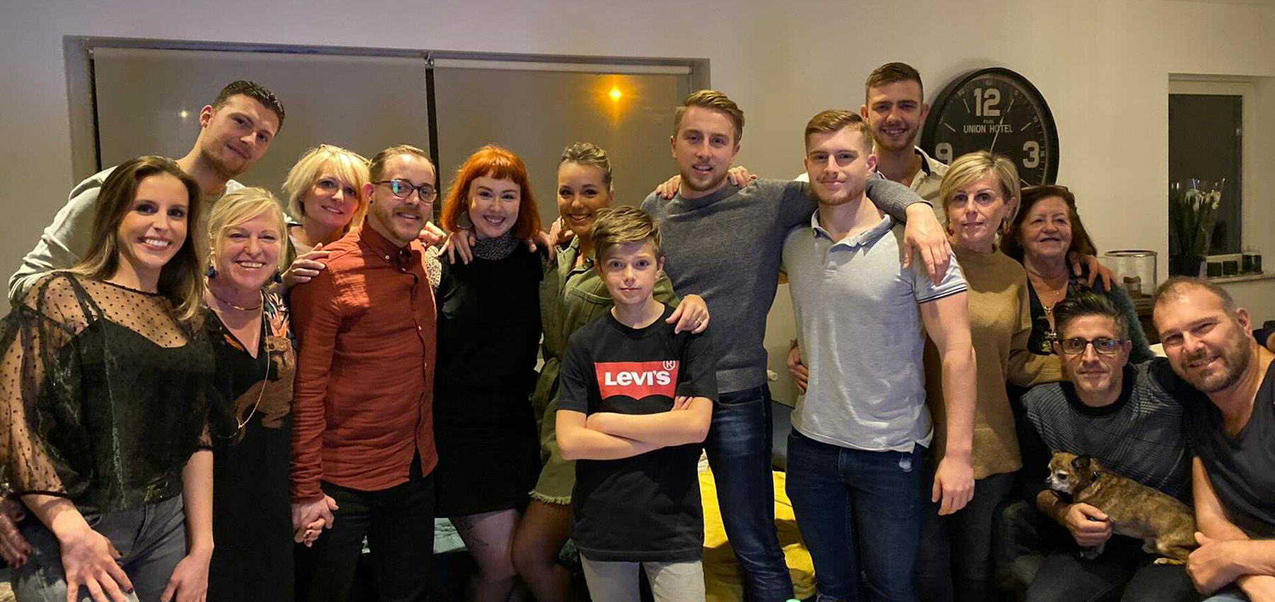 Quentin, with friends and family in Belgium