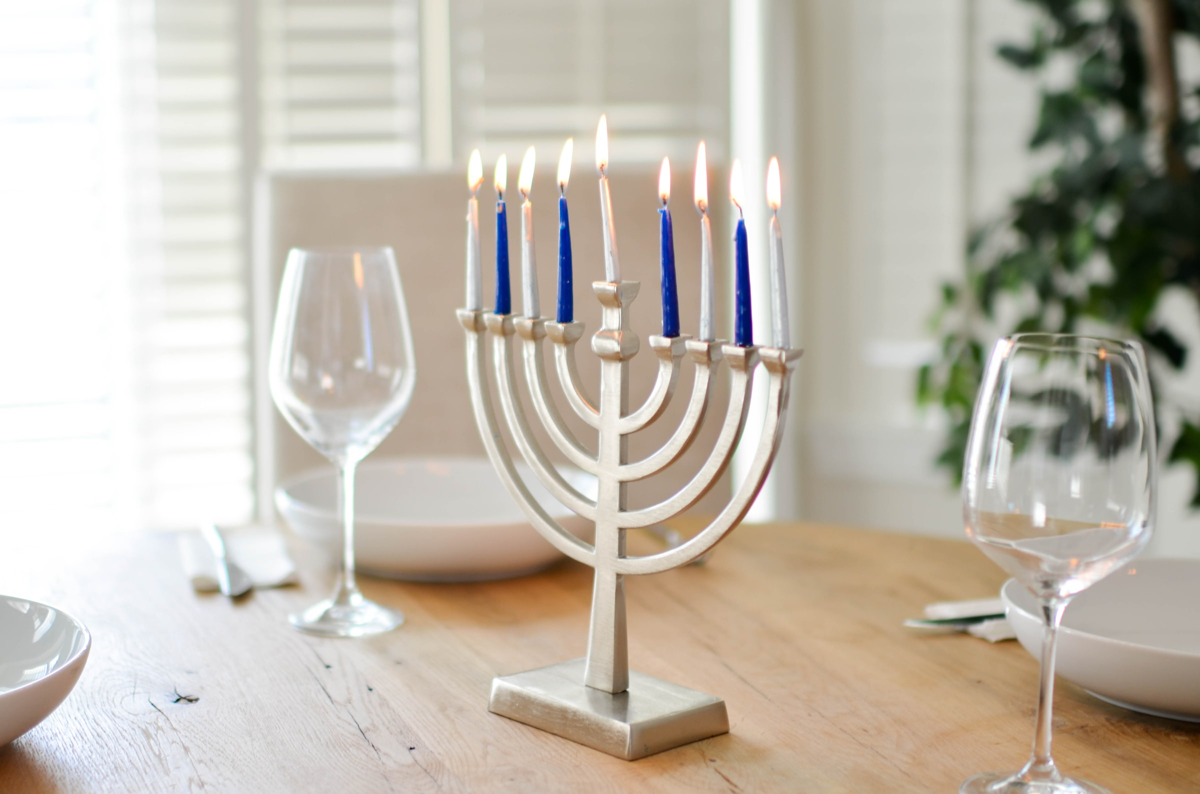 A traditional Hanukkah Menorah, also known as a Hannukkiah