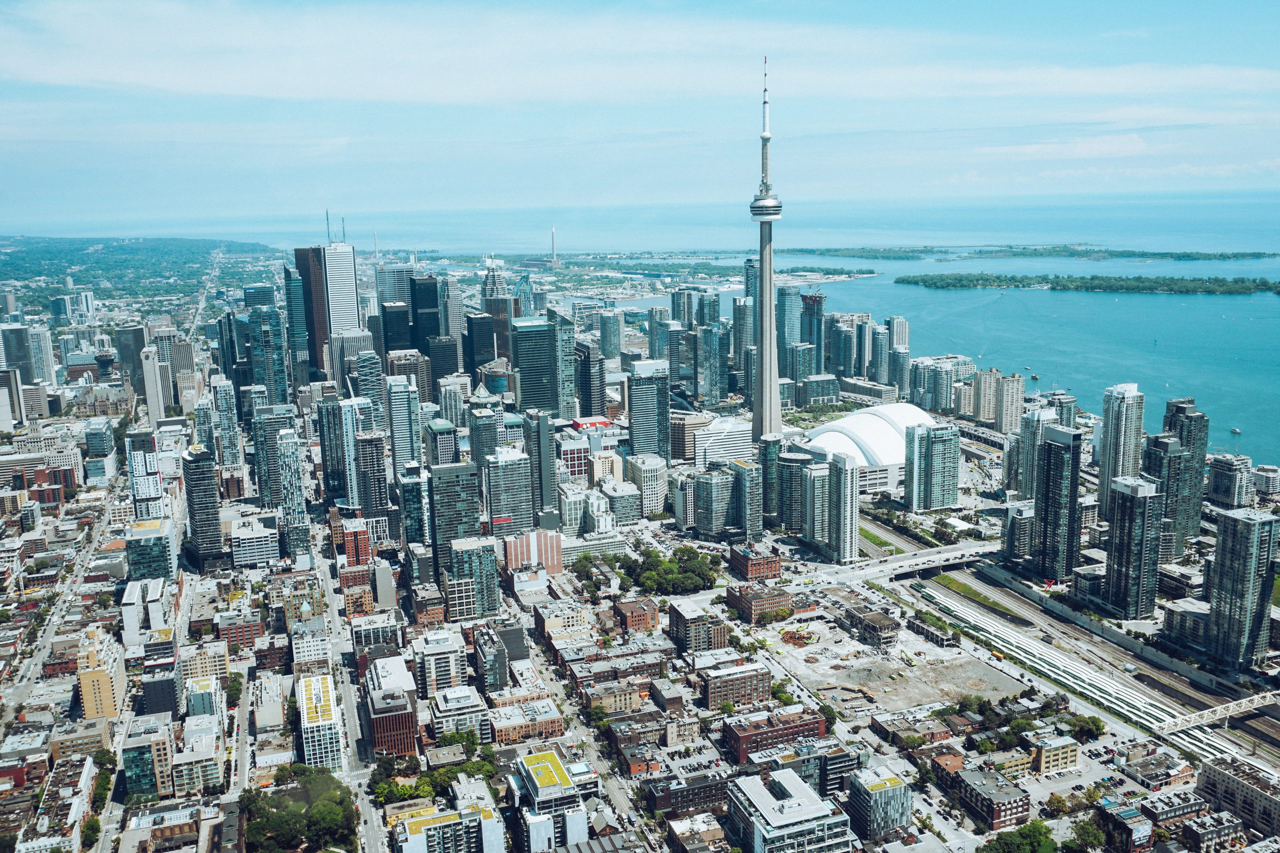 An aerial view of downtown Toronto