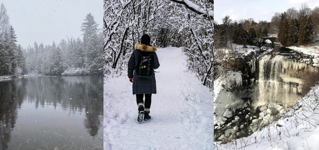 3 images. Snow falling on a pond, Marcela walking on a snowy trail, & ice formations on a waterfall