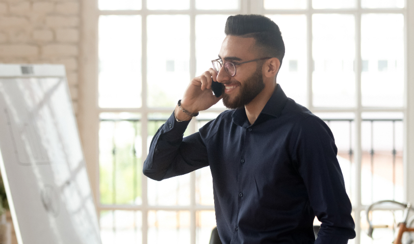 business man making call